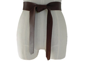 Soft Leather Tie Belt Raw Edge Goatskin or Seamless Cowhide Brown Strap Belt Sash xs, s, m, l, xl Coat Belt Basic Collection custom brown