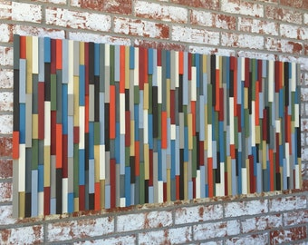 Wood Wall Art - Modern Reclaimed Wood Art Wall Sculpture- Abstract Painting on Wood