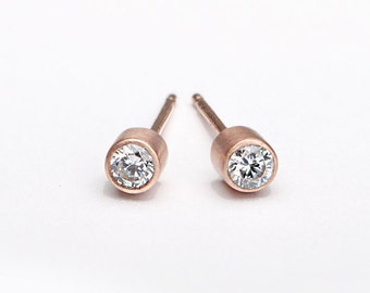 Tiny White Zircon Stud Earrings, Sterling Silver & Gold Plated, Gemstone Post Earrings, Modern Minimalist Jewelry, Hand Made, Gift, STD018W