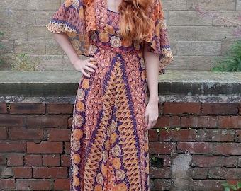 Original 1970s Vintage Sherman of London Floral Maxi Dress UK Size 10/12