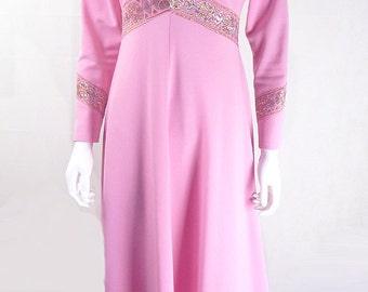 Original Vintage 1970s Pink Evening Dress with Lurex UK Size 10/12