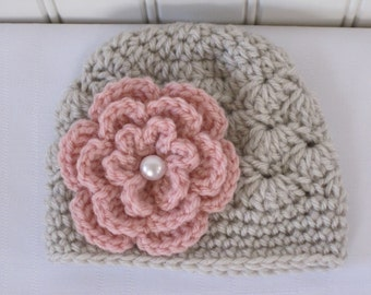 Baby Hat - Crochet Hat - Girls Hat - Toddler Hat - Newborn Hat - Winter Hat - Linen Hat with Flower - in sizes Newborn to 3 Years