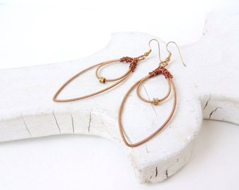 Guitar String Earrings - copper/rose gold leaf shaped earrings - for teens and adults - recycled/eco-friendly/upcycled jewelry - under 30.00