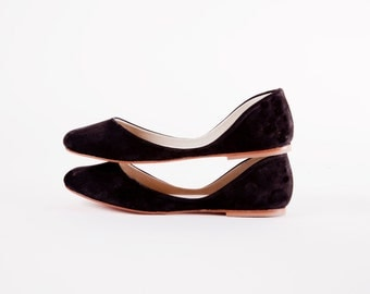 The Swan Ballet Flats | Minimalist Nubuck Leather Shoes | Women's Evening and Casual Wear Shoes | Black Swan