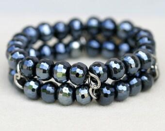 Cookie Lee Bracelet, Crystal Bead Bracelet, Bead Bracelet, Aurora Borealis Bracelet, Aurora Borealis Bead Bracelet, Stretch Bracelet