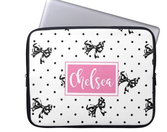 Monogram Laptop Case - Personalized iPad cover - Custom Preppy Bows MacBook Sleeve - Monogrammed Laptop Bag