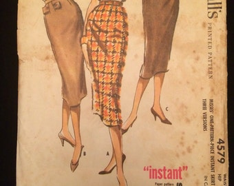 1950's UNCUT Pencil Skirt in Three Styles Sewing Pattern McCall's 4579 Waist 30 + EXTRA PIECES