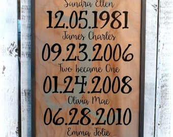 """13"""" x 25"""" What a difference a day makes - Important dates sign - Family Sign"""
