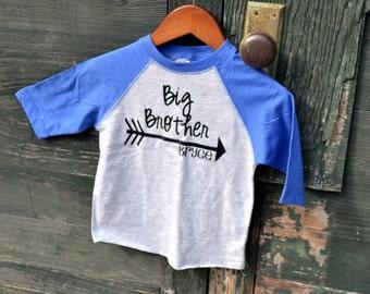 Personalized Big Brother Shirt Arrow Raglan 3/4 Sleeve Toddler Youth Shirt