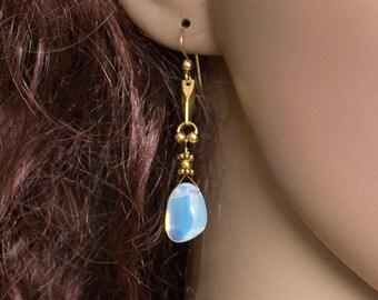 Sky Blue Artisan Opalite Dangle Earrings in Gold Fill Handmade Handcrafted Wire Work Drop Cascade