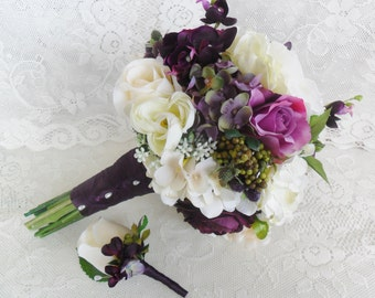 Wedding Bouquet, Plum Purple Bridal Bouquet, Purple Wedding Flowers, Silk Wedding Flowers, Roses & Hydrangea Bouquet,Bouquet and Boutonniere