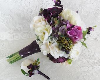 Plum wedding bouquet | Etsy