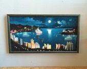 Vintage Black Velvet Super Kitsch Oil Painting of Honolulu Harbor Framed landscape Seascape moonlight night original artwork