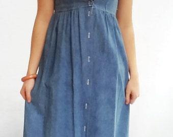 90s Denim BABYDOLL Dress, MINIMALIST maxi dress,  M