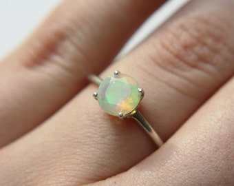 Round Faceted Ethiopian Opal Ring - sterling silver opal ring - faceted welo opal ring - opal engagement ring - october birthstone ring