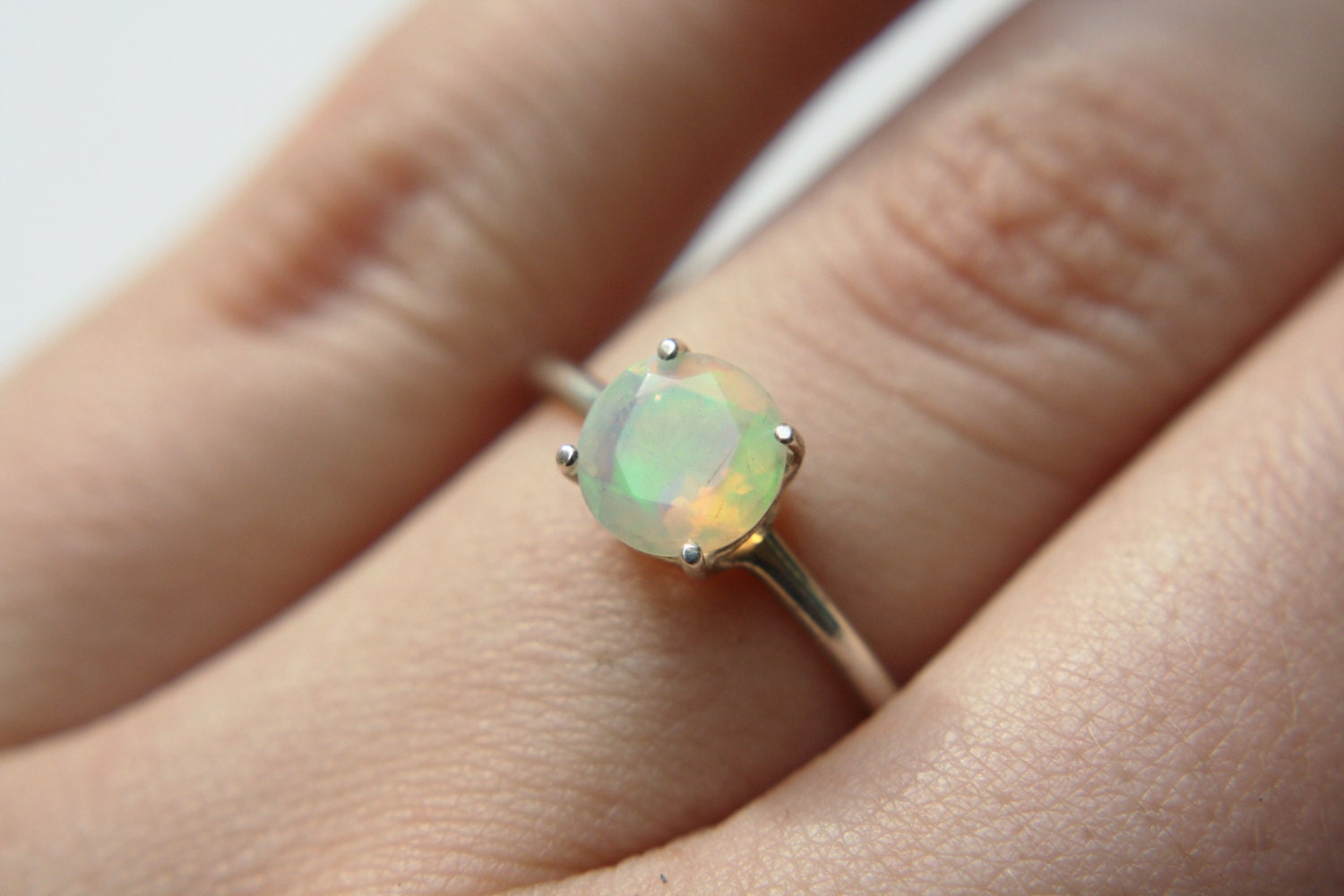 round faceted ethiopian opal ring sterling silver opal ring. Black Bedroom Furniture Sets. Home Design Ideas