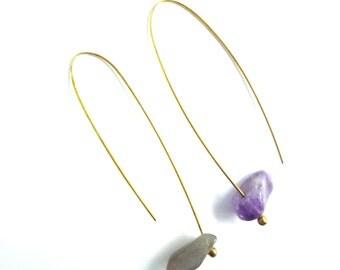 amethyst dangle earrings- purple earrings- free shipping worldwide- purple rain dangle earrings