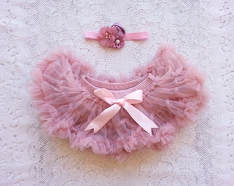 PETTISKIRT BLOOMER All in one!  Dusty Rose Baby Vintage Chiffon, tutu diaper cover and/or headband Newborn, infant, toddler 0-18 months