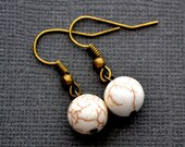 White Magnesite Rounds . Earrings