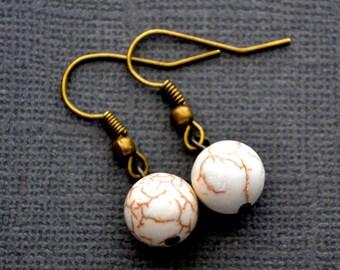 White Magnesite Rounds . Earrings
