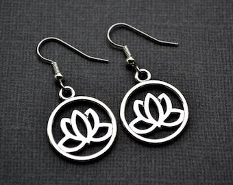 Silver Lotus Flowers in Hoops . Earrings