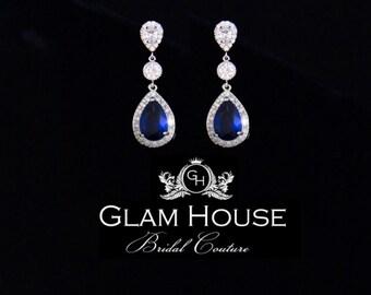 Sapphire Bridal Earrings, Blue jewelry, Cubic zirconia Earrings,Sapphire earrings,something blue,statement earrings,wedding jewelry
