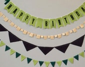 Chartreuse Green HAPPY BIRTHDAY Banner / Garland / Bunting Fabric Decoration Package - Eco-friendly