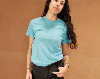 vintage TURQUOISE teal basic POCKET super soft thin faded t-shirt top