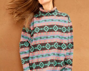 SOUTHWEST mock turtleneck 90s bright SLOUCHY ikat style TRIBAL pattern womens shirt