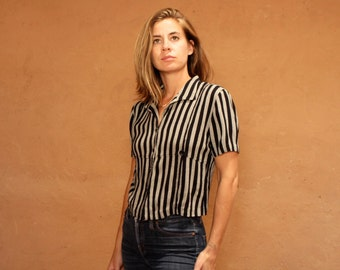 CLUELESS 90s grey & black STRIPED top button down up women's vintage shirt