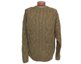Big Brown Men's Fisherman Sweater XL Cable Knit Wool Handknit Sweater