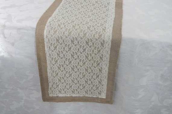 Burlap and Lace Table Runner, Wedding, Party, Shower, Home Decor, Custom Sizes Available