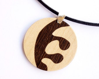 Wooden necklace, Modern necklace, Wood inlay necklace, Pendant necklace wood, Woman necklace, Wood accessories, Wooden jewelry