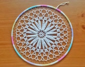 Crocheted Flower Doily in a 10 inch Hoop, Dreamcatcher Starter Ring, Doily Medallion Decoration, Great for Babyshowers, Girls Room, Weddings