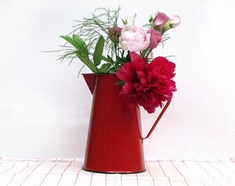 Vintage French red Enamelware water pitcher, red enamel vase