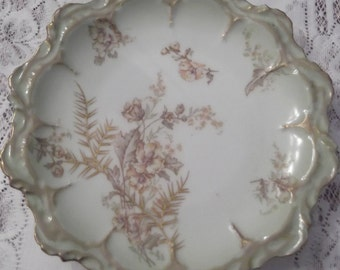 """Limoges (8 1/4""""D) Plate; 19th Century, Hand Painted; (Unknown Artist) possibly later 1800's       DR"""