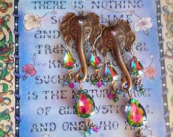 "Ganesha Hindu God Elephant Earrings, Rainbow Vitrial Crystal Rhinestone Jewelry, Spiritual, 3 1/2"", Chakra, Fantasy, Sparkly Crystal!"
