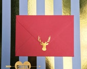 21 Gold or Silver Foil Deer Head Woodland Rustic Nature - Planner, Agenda Envelope Seals