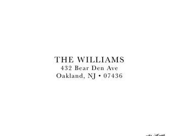 Housewarming Anniversary Gift Wedding Gift Personalized Custom Return Address Rubber Stamp or Self Inking Style 917 Serif font Classic