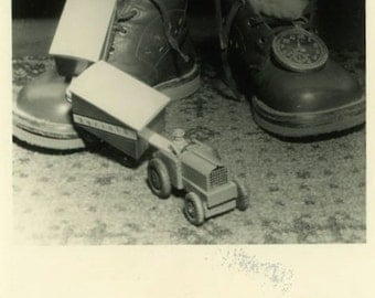 "Vintage Photo ""Childhood"" Still Life Shoes Kids Wood Toy Snapshot Old Photo Black & White Photograph Found Paper Ephemera Vernacular - 159"