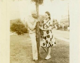 "Vintage Photo ""365 Romance Avenue"" Flirty Couple Snapshot Old Antique Photo Black & White Photograph Found Paper Ephemera Vernacular - 165"
