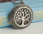 Large Silver Tree Locket Necklace, embossed life family vintage style medallion antiqued pendant round photo Mothers day gift gifts