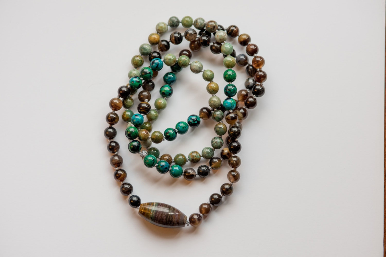 i am connected 108 mala bead mantra infused necklace