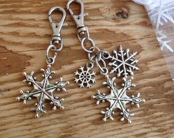 Winter Snowflake Zipper Pull Purse Charm Journal Planner Charm Purse Jewelry Gift for her