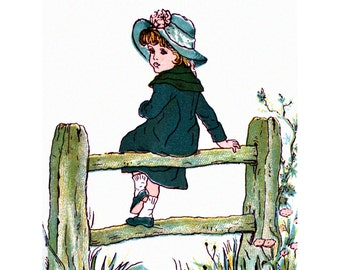 Little Girl Greeting Card | Sits on Fence in Meadow | Kate Greenaway Repro