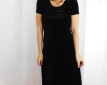 90's Black Velvety Maxi Dress