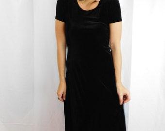 90's Black Velvety Maxi Dress
