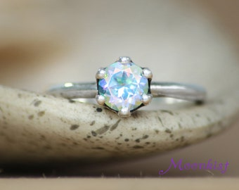 Opalescent Topaz Crown Engagement Ring in Sterling - Silver Unique Engagement or Promise Ring - Crown Wedding Ring - Choice of Stone