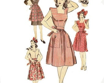 1940s Womens Pinafore and Bonnet Pattern, Square Neckline, Gathered Skirt, Bust 32 Size 14 Hollywood Pattern 891 Vintage Sewing Pattern