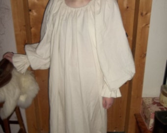 Medieval chemise, reg size, in unbleached cotton muslin with long sleeves and a gathered neckline to wear under a bodice or over dress.